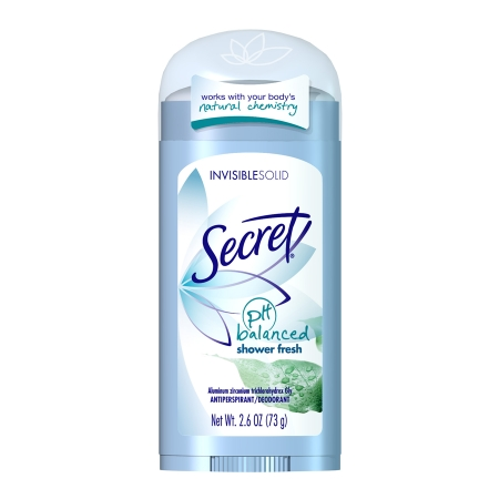 Secret Anti-Perspirant/Deodorant, Invisible Solid, pH Balanced, Shower Fresh - 2.6 oz