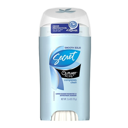 Secret, Outlast, Smooth Solid, Completely Clean, Antiperspirant/Deodorant - 2.6 oz