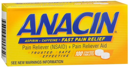 Anacin Aspirin (NSAID) Pain Reliever/Caffeine Pain Reliever Aid - 100 Coated Tablets
