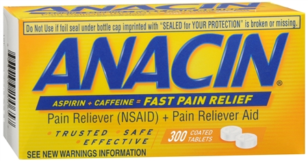 Anacin Aspirin (NSAID) Pain Reliever/Caffeine Pain Reliever Aid - 300 Coated Tablets