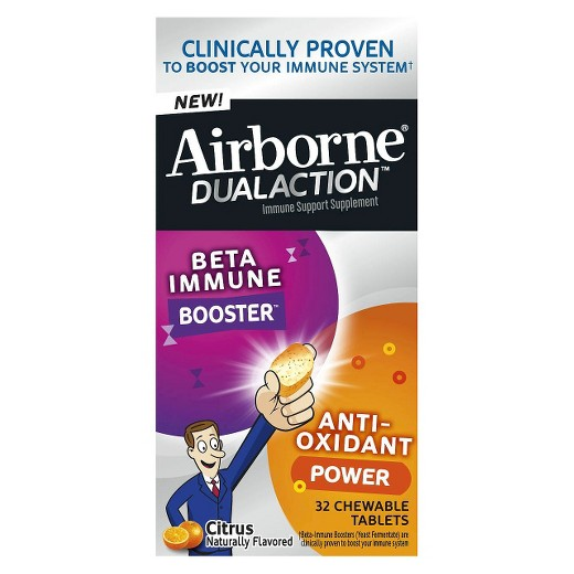 Airborne Dual Action Beta-Immune Booster Anti-Oxidant Power Citrus Naturally Flavored - 32 Chewable Tablets