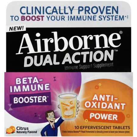Airborne Dual Action Beta-Immune Booster Anti-Oxidant Power Citrus Naturally Flavored - 10 Effervescent Tablets