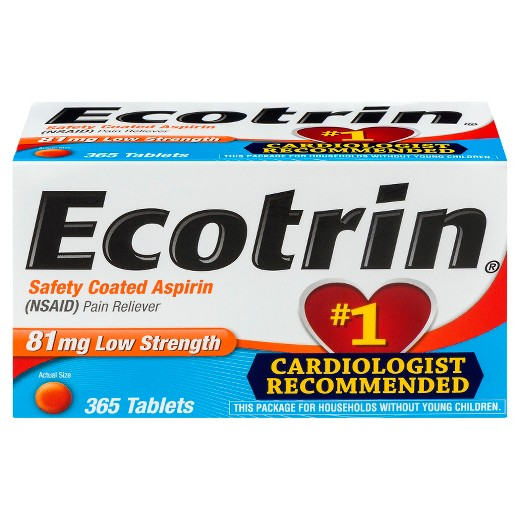 Ecotrin 81 mg Low Strength Safety Coated Aspirin (NSAID) - 365 Tablets