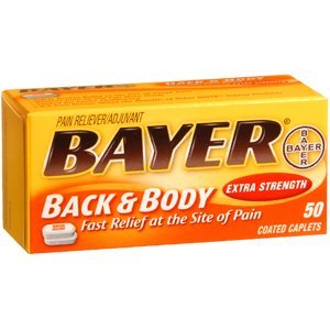 Bayer Aspirin (NSAID) Caffeine Back & Body Extra Strength 500 mg - 50 Coated Tablets