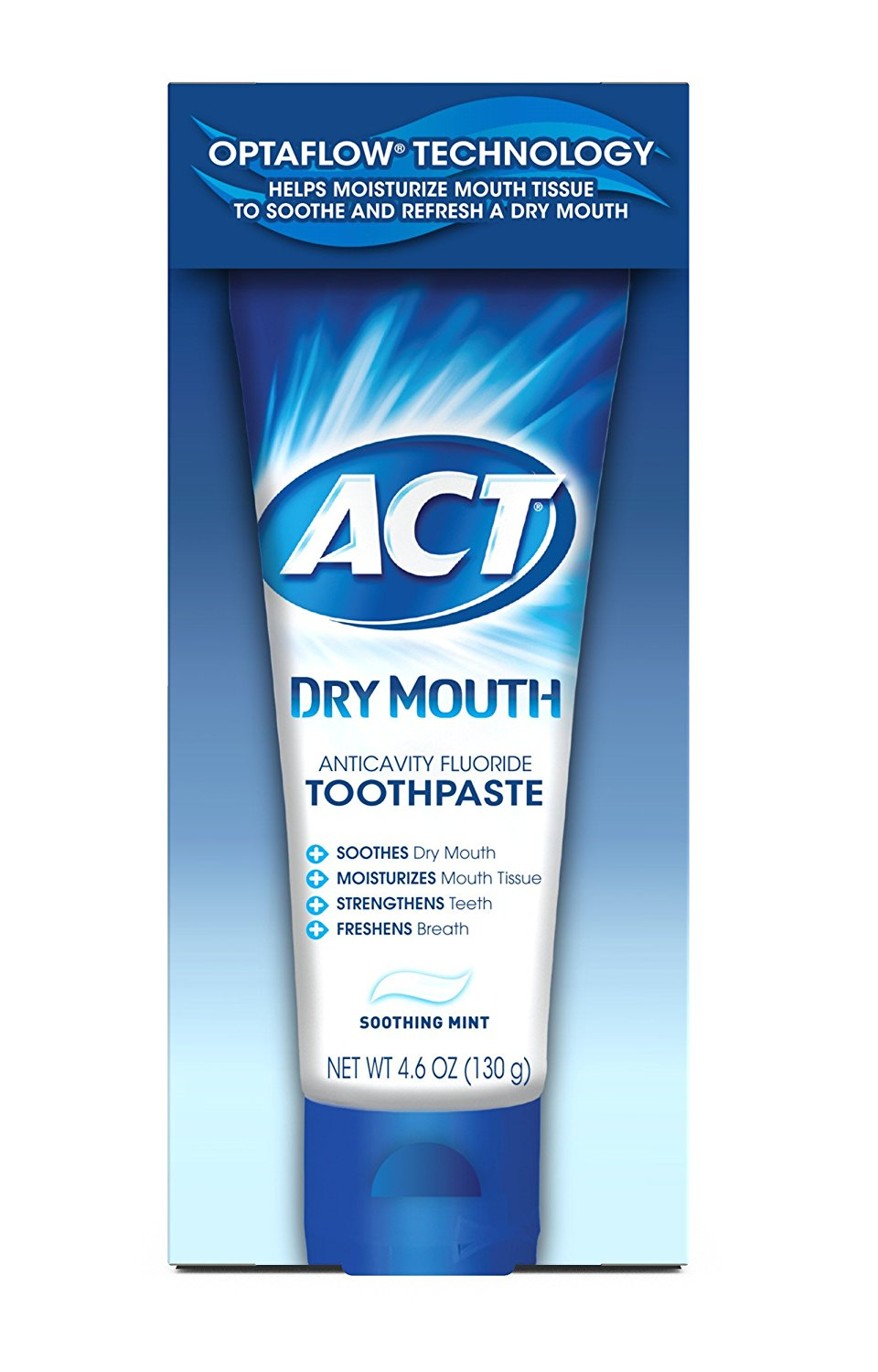 ACT Dry Mouth Anticavity Fluoride Toothpaste With Xylitol - 4.6 Oz (130 g)