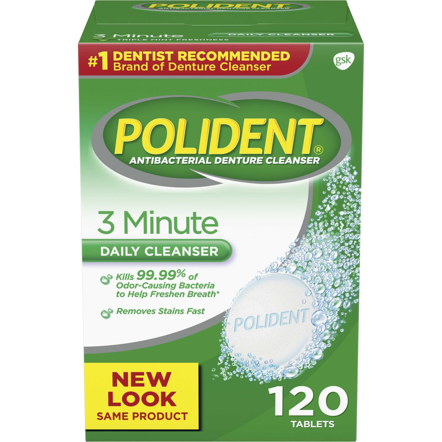 Polident 3 Minute Daily Cleanser - 120 Tablets