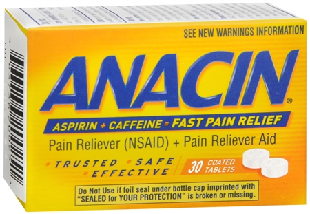 Anacin Aspirin (NSAID) Pain Reliever/Caffeine Pain Reliever Aid - 30 Coated Tablets