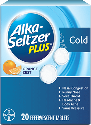 Alka-Seltzer Plus Cold Orange Zest - 20 Effervescent Tablets