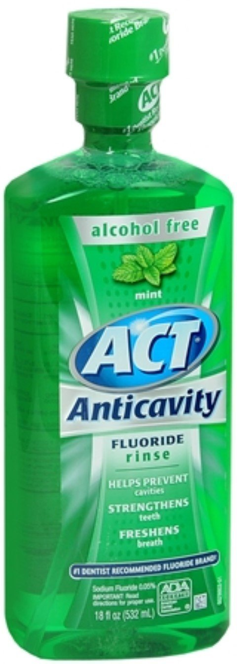 ACT Anticavity Fluoride Mouthwash - Alcohol Free Mint - 18 Fl Oz (532 mL)