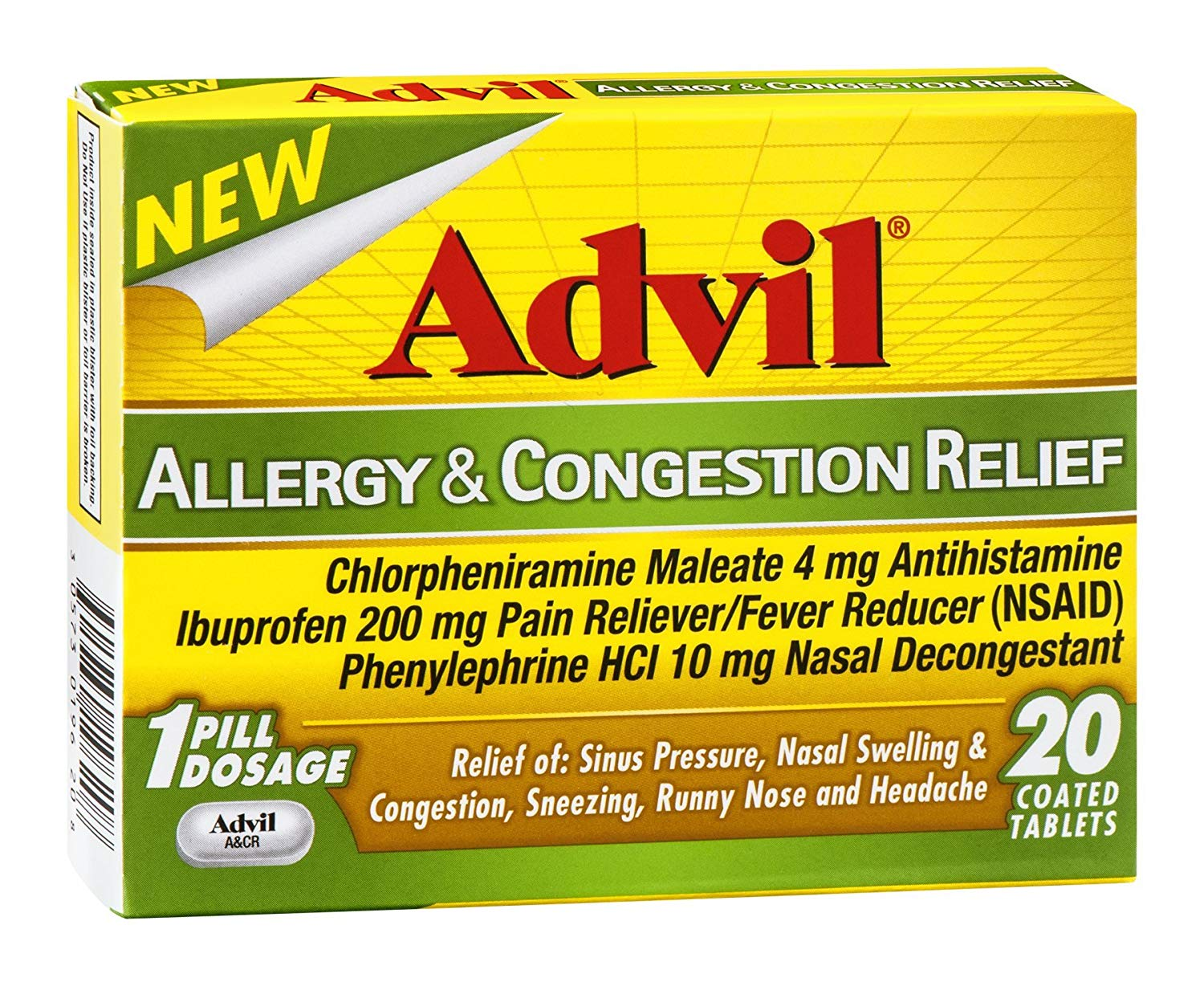 Advil Allergy & Congestion Relief - 20 Coated Tablets