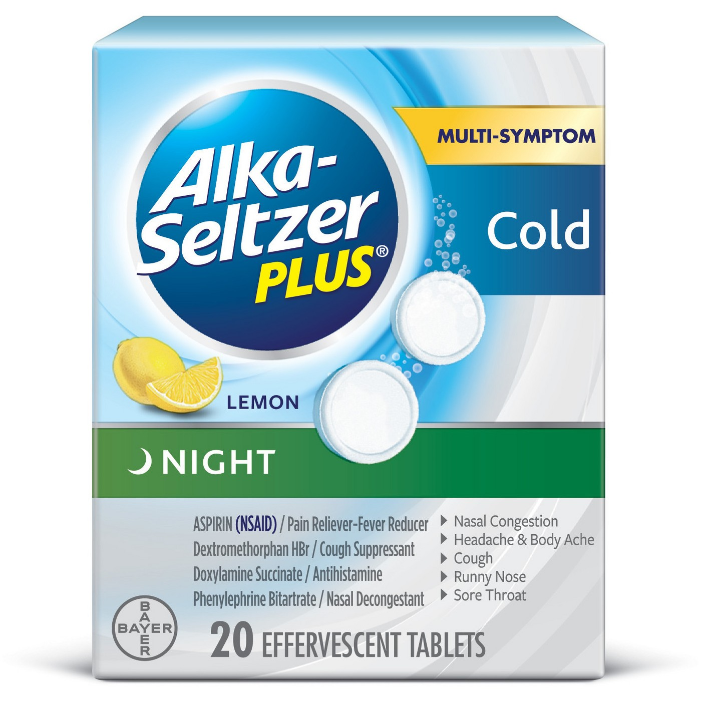 Alka-Seltzer Plus Cold Night Lemon - 20 Effervescent Tablets