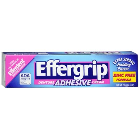 Effergrip Denture Adhesive Cream Zinc Free Formula Extra Strong Holding Power - 2.5 Oz (70 g)