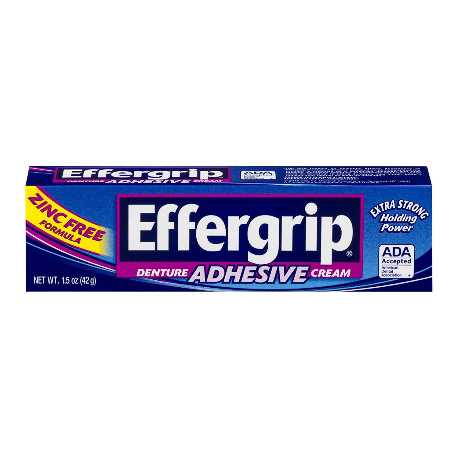 Effergrip Denture Adhesive Cream Zinc Free Formula Extra Strong Holding Power - 1.5 Oz (42 g)