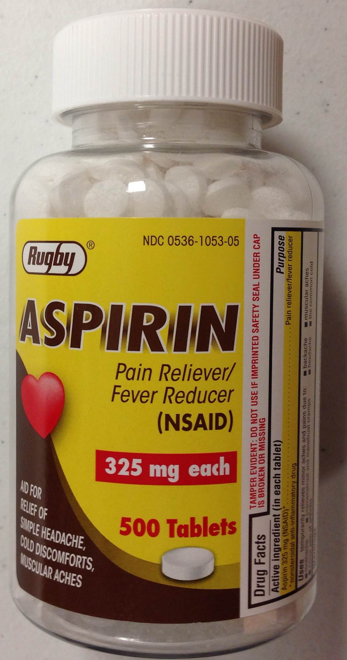 Aspirin Uncoated 325 mg (Compare to Bayer) - 500 Tablets (Rugby)