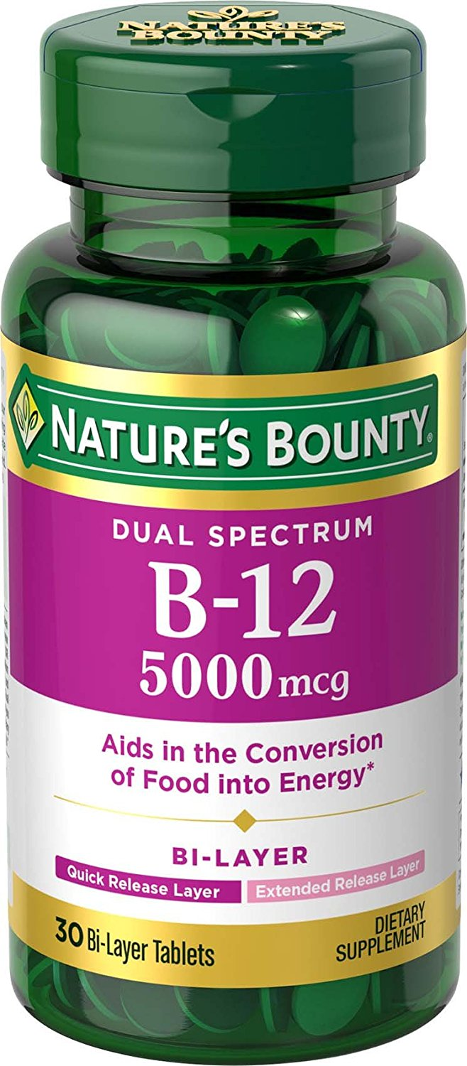 Nature's Bounty B-12 5000mg - 30 Bi-Layer Tablets