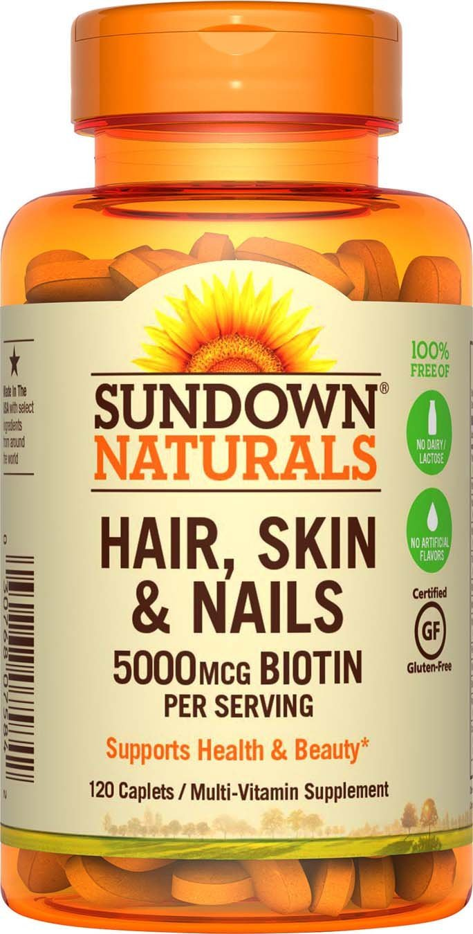 Sundown Naturals Hair, skin & Nails 5000mcg Biotin - 120 caplets