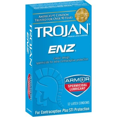 Trojan ENZ Armor Spermicidal Lubricant Latex Condoms - 12 CT