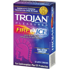 Trojan Fire & Ice Dual Action Lubricant Condoms Pleasures - 10 CT