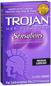 Trojan Her Pleasure Sensations Premium Lubricant Latex Condoms - 12 CT
