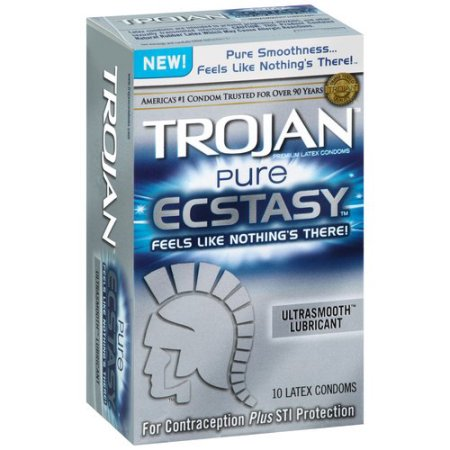 Trojan Pure Ecstasy Ultrasmooth Lubricant Latex Condoms - 10 CT