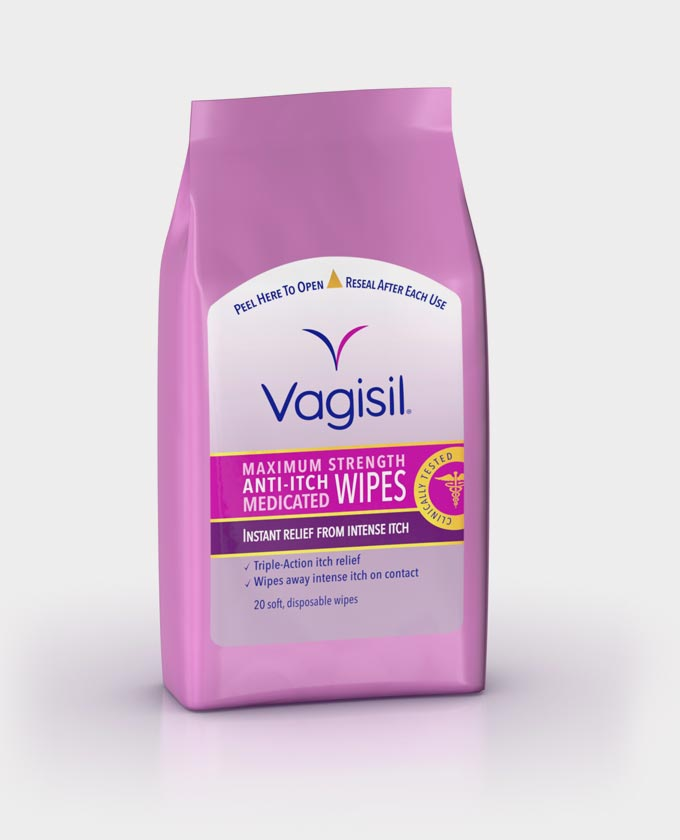 Vagisil Maximum Strength Anti-Itch Medicated Wipes - 20 Soft Disposable Wipes