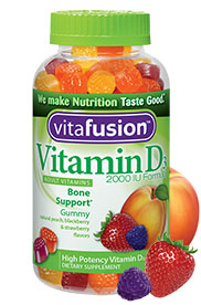 VitaFusion Vitamin D3 2000 IU Adult Vitamins Bone & Immune Support Natural Peach, Blackberry & Strawberry Flavors - 150 gummies
