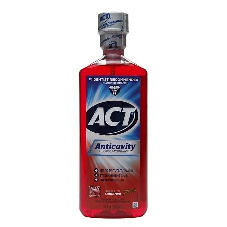 ACT Anticavity Fluoride Mouthwash Alcohol Free Cinnamon - 18 Fl Oz (532 mL)