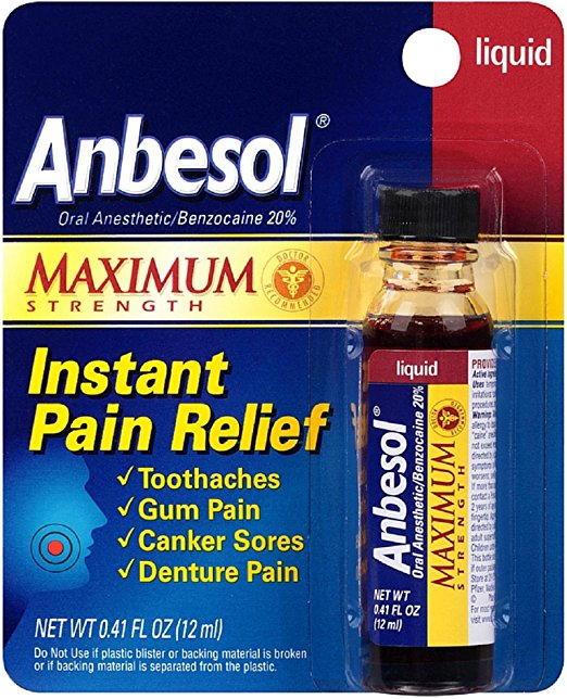 Anbesol Maximum Strength Instant Pain Relief Liquid - 0.41 Fl Oz (12 mL)