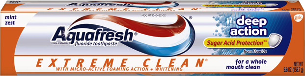 Aquafresh Extreme Clean Deep Action Sugar Acid Protection Mint Zest - 5.6 Oz (158.7 g)