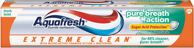 Aquafresh Extreme Clean Pure Breath Action Sugar Acid Protection Fresh Mint Toothpaste - 5.6 Oz (158.8 g)