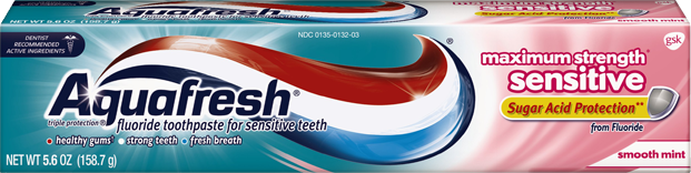 Aquafresh Maximum Strength Sensitive Sugar Acid Protection Smooth Mint Toothpaste - 5.6 oz (158.8 g)
