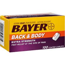 Bayer Aspirin (NSAID) Caffeine Back & Body Extra Strength 500 mg - 100 Coated Tablets