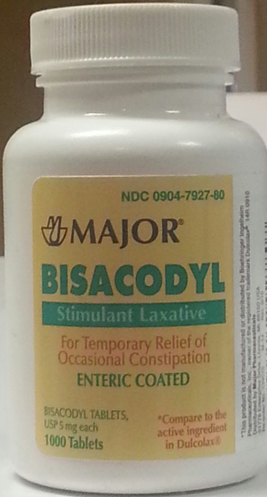 Bisacodyl (Dulcolax) 5 Mg Enteric Coated Stimulant Laxative - 1,000 Tablets (Major)