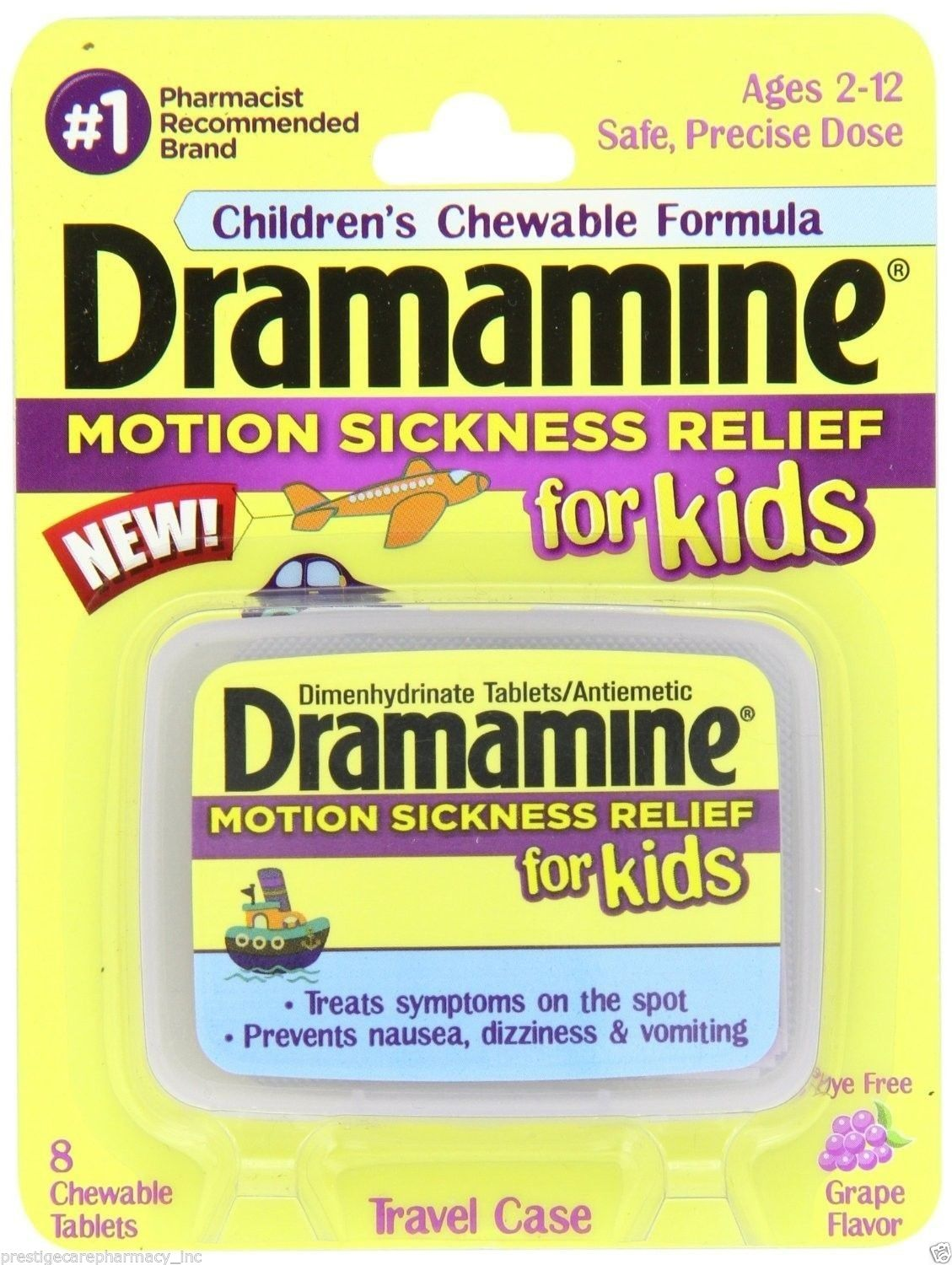 Dramamine For Kids Motion Sickness Relief Chewable (Grape) - 8 Tablets