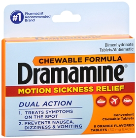 Dramamine Chewable Formula Motion Sickness Relief - 8 Orange Flavored Tablets