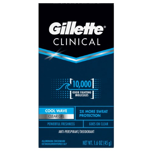 Gillette Clinical Ultimate Cool Wave Clear Gel Powerful Freshness- 1.7 Oz (48 g)
