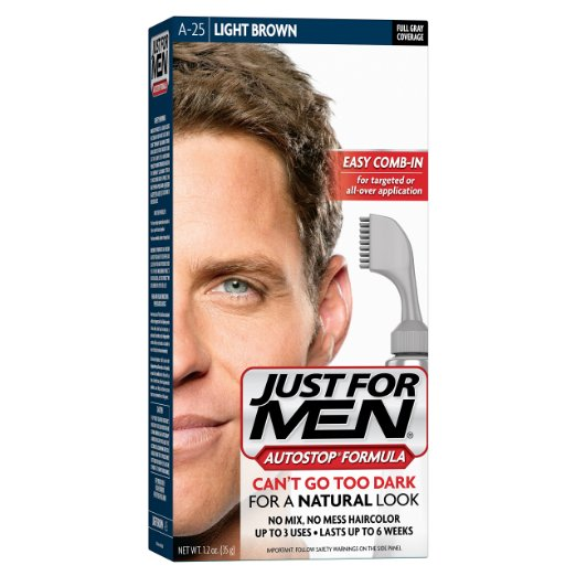 Just For Men AutoStop Formula, Men's Hair Color, Light Brown (A-25)