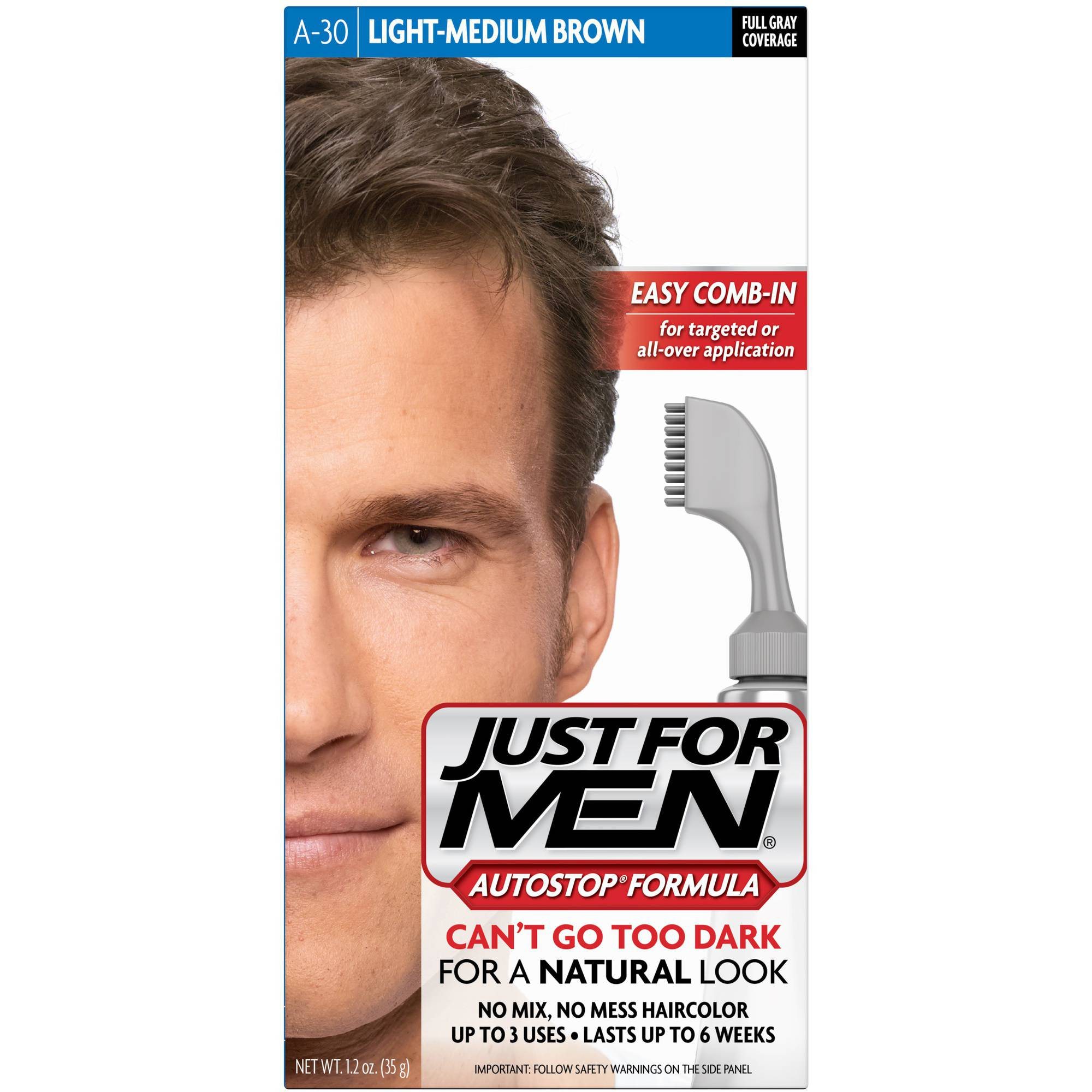 Just For Men AutoStop Formula, Men's Hair Color, Light Medium Brown (A-30)