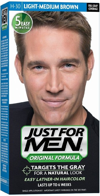 Just For Men, Original Formula, Men's Hair Color, Light Medium Brown (H-30)