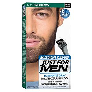 Just For Men Mustache & Beard Brush-In Color Gel, Dark Brown (M-45)