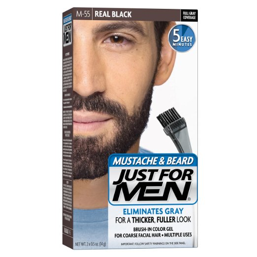 Just For Men Mustache & Beard Brush-In Color Gel, Real Black (M-55)