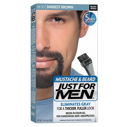 Just For Men Mustache & Beard Brush-In Color Gel, Darkest Brown (M-50)