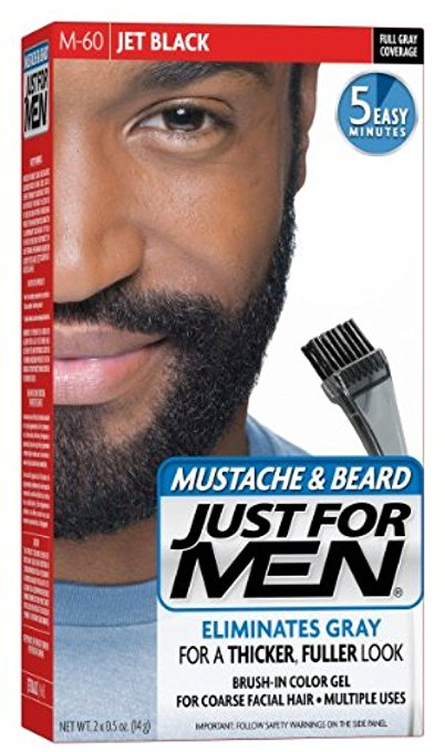Just For Men Mustache & Beard Brush-In Color Gel, Jet Black (M-60)