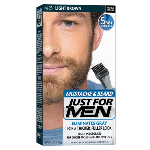 Just For Men Mustache & Beard Brush-In Color Gel, Light Brown (M-25)