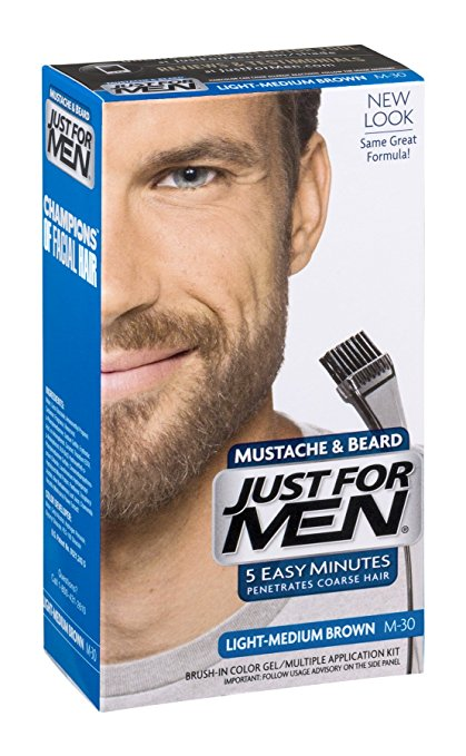 Just For Men Mustache & Beard Brush-In Color Gel, Light-Medium Brown (M-30)