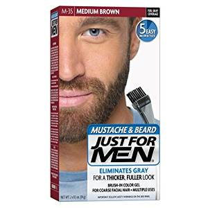 Just For Men Mustache & Beard Brush-In Color Gel, Medium Brown (M-35)