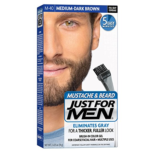 Just For Men Mustache & Beard Brush-In Color Gel, Medium Dark Brown (M-40)