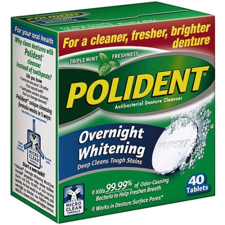Polident Overnight Whitening Daily Cleanser - 40 Tablets