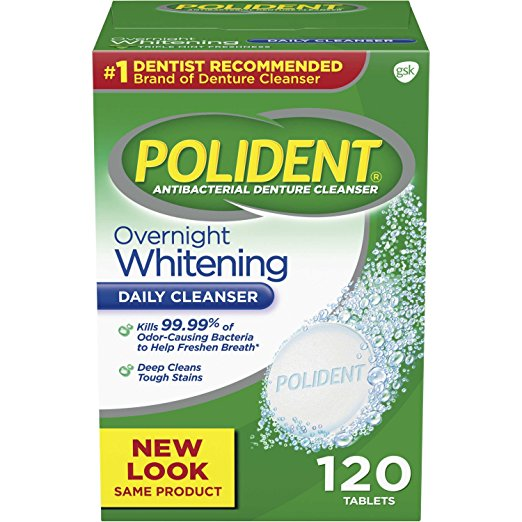 Polident Overnight Whitening Daily Cleanser - 120 Tablets