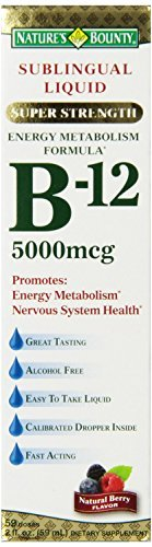 Nature's Bounty Sublingual Liquid B-12 5000 Mcg - 59 Doses 2 Fl Oz (59 mL)